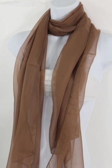 Other Women Long Brown Neck Scarf Soft Sheer Tie Wrap Classic Cool Image 3