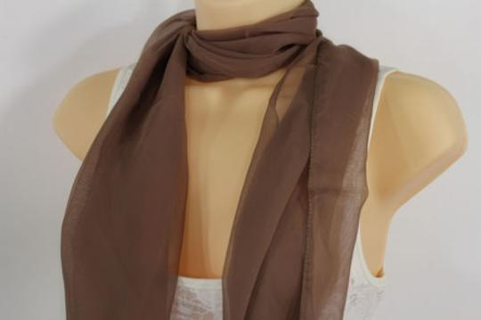 Other Women Long Brown Neck Scarf Soft Sheer Tie Wrap Classic Cool Image 4