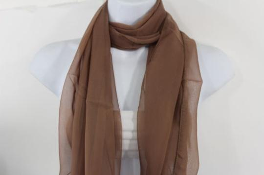 Other Women Long Brown Neck Scarf Soft Sheer Tie Wrap Classic Cool Image 5