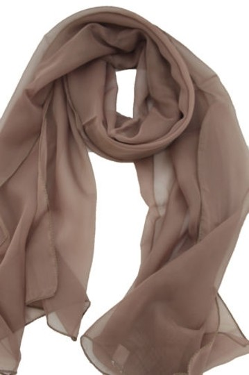 Other Women Long Brown Neck Scarf Soft Sheer Tie Wrap Classic Cool Image 6