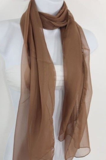 Other Women Long Brown Neck Scarf Soft Sheer Tie Wrap Classic Cool Image 7