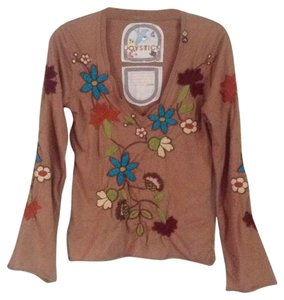 Joystick T Shirt Light brown multi embroidery