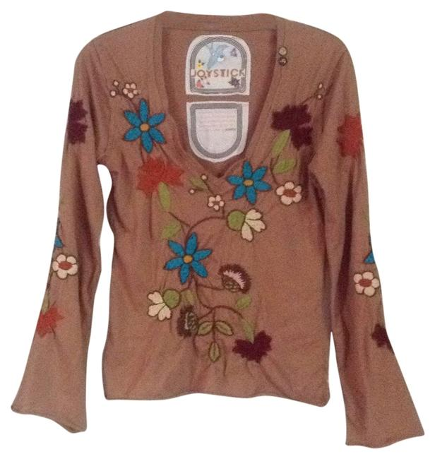 Item - Light Brown Multi Embroidery Tee Shirt Size 4 (S)