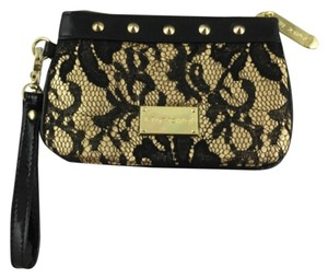 Betsey Johnson Betseyville Evening Formal Prom Studded Wristlet in Black Lace Gold