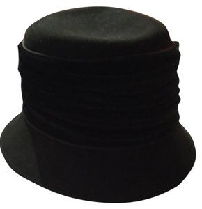 Betmar Black Felt with Black Velvet Cloche Hat