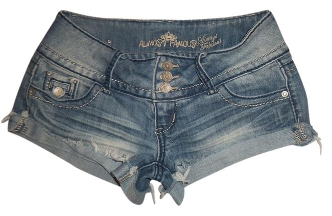 Almost Famous Clothing Raw Cut Hip Hugger Denim Shorts-Light Wash