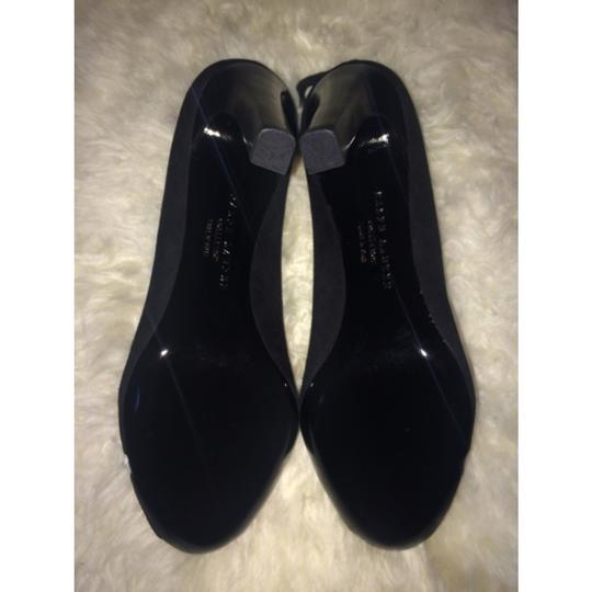 Ralph Lauren Suede Leather Strappy Evening Formal Wedding Classic Stacked Heel Office Corporate Purple Label black Sandals Image 3