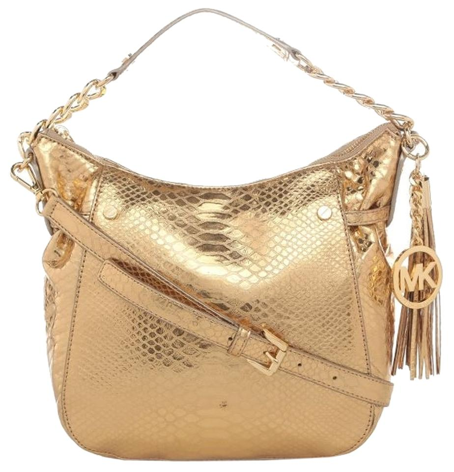b3166fb5db Michael Kors Megan Tote Embossed Python Snake Pale Gold Leather Shoulder Bag