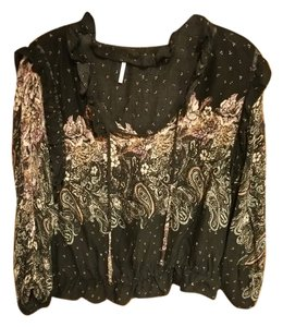 Free People Top Black and pink floral