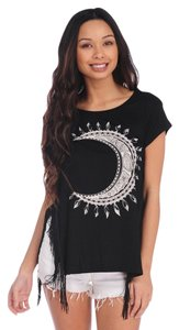Vintage Havana Fringe Hem Cut-out Graphic Fringe T-shirt Boxy Rayon Spandex Moon Stretchy Edgy Casual Knit Boyfriend Boho Bohemian T Shirt Black