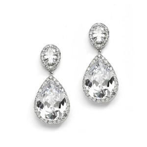 Silver Clip-on Couture Cubic Zirconia Pear-shaped Earrings