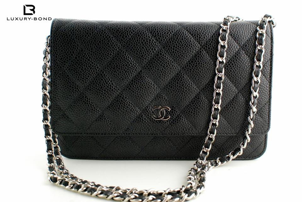 e6ed8d5728ad Chanel Wallet on Chain 15b Classic Quilted Woc In and Silver Hardware Black  Caviar Leather Cross Body Bag - Tradesy