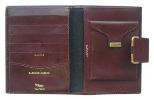 Bosca Bosca Red Leather Wallet Bifold Vintage Passport Calfskin Patent Leather