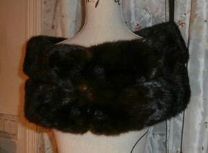 Vintage Deep Sable Brown Genuine Mink Fur Wide Shoulder Stole Vintage 50's Reduced 2015 On Sale!!!