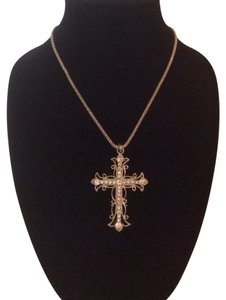 Silver Large Bling Cross Necklace