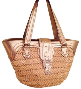 Michael Kors Straw Large Tote in Gold Leather Trim