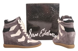 Sam Edelman Bennett Black Greige Suede Designer High Top Wedge Sneakers Gray Athletic