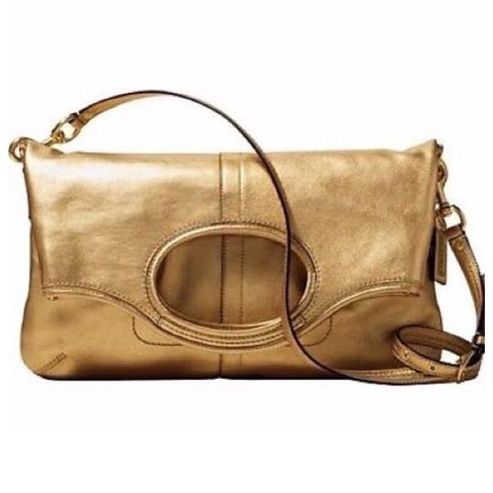Coach Gold Convertible Tote Crossbody Clutch Ergo Lth 12250 B4 NWT MFSRP 478.00 Vintage Rare Handbag Purse Leather Tote in Gold Image 1