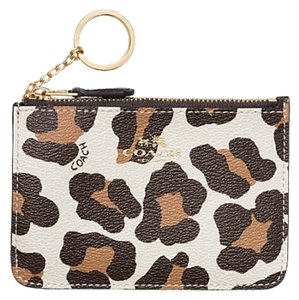 Coach New In Packaging! Coach Ocelot Print Key Pouch Gusset Wristlet Coin Card ID Key Ring 64072