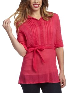 Simply Irresistable Sheer Tie Waist Button Down Shirt Pink