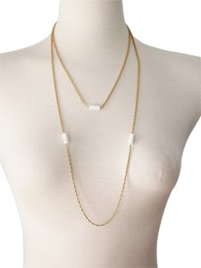20s Style Gold & White Beaded Chain Extra Long Necklace