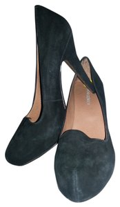 Cynthia Rowley High Heel Suede Sexy Elegant Formal Chic Black Platforms