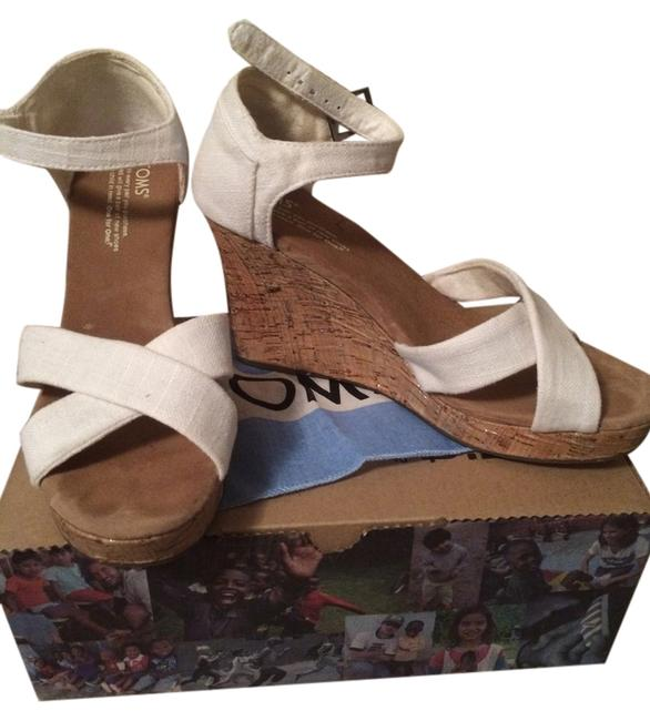 Item - Ivory Linen Strappy Canvas Wedges Size US 8 Regular (M, B)