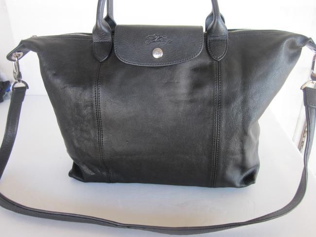 Item - Lepliage Cuir Medium Black Lambskin Leather Satchel