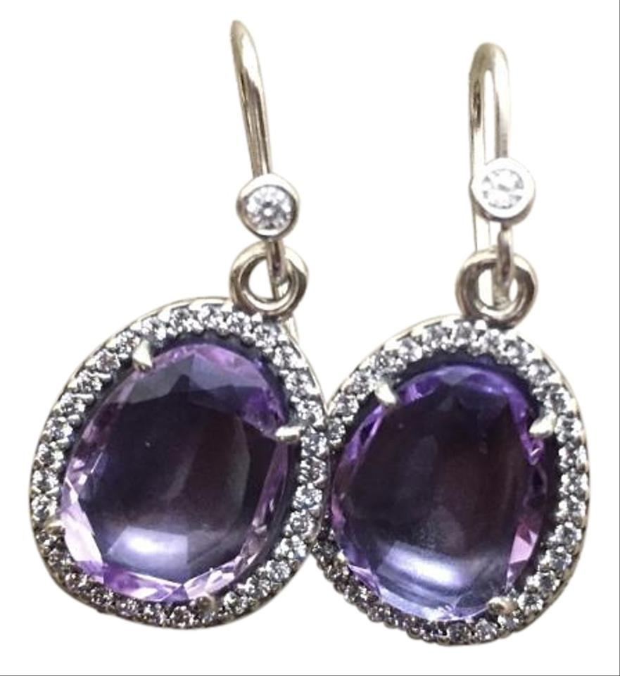 Pandora New Sparkling Amethyst Earrings With Sterling Silver Cz Posts