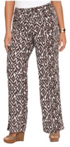 INC International Concepts Wide Leg Pants Daimond vine ( brown , white)