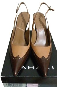 Tahari Leather Slingback Pump Two tone, light brown and dark brown Pumps