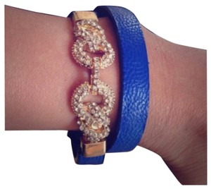 Other Blue And Gold Rhinestones Infinity Wrap Bracelet