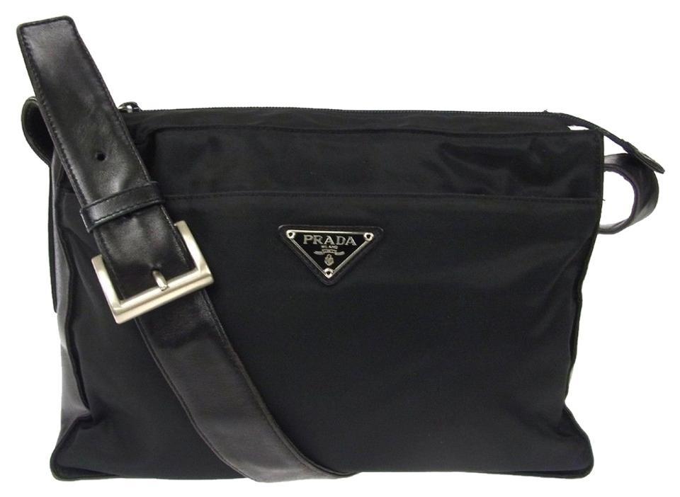 151a2357b8e7 Prada Made In Italy Vintage M01255 Blacks Nylon Leather Shoulder Bag ...