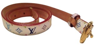 Louis Vuitton Louis Vuitton White/Multicolored Monogramed Belt
