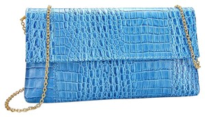 Crocodile Skin Blue Clutch