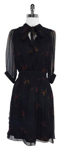 Jill Stuart short dress Black Red Floral Print Silk on Tradesy