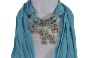 Alwaystyle4you Women Blue Long Scarf Fabric Silver Metal Dog Poodle Pendant