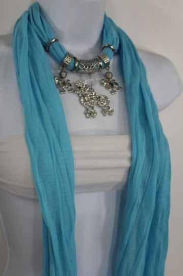 Alwaystyle4you Women Blue Long Scarf Fabric Silver Metal Dog Poodle Pendant Image 10