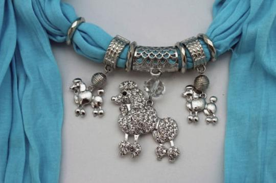 Alwaystyle4you Women Blue Long Scarf Fabric Silver Metal Dog Poodle Pendant Image 2