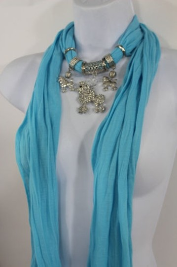 Alwaystyle4you Women Blue Long Scarf Fabric Silver Metal Dog Poodle Pendant Image 3