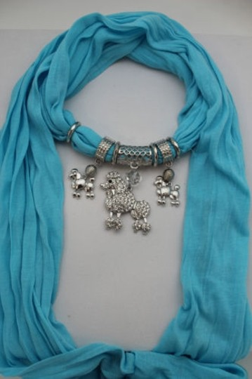Alwaystyle4you Women Blue Long Scarf Fabric Silver Metal Dog Poodle Pendant Image 4
