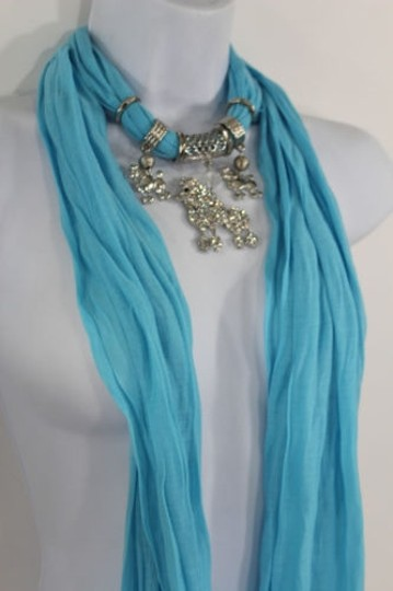 Alwaystyle4you Women Blue Long Scarf Fabric Silver Metal Dog Poodle Pendant Image 5