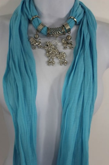 Alwaystyle4you Women Blue Long Scarf Fabric Silver Metal Dog Poodle Pendant Image 6