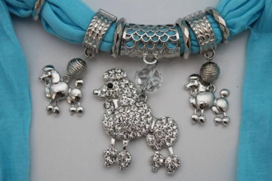 Alwaystyle4you Women Blue Long Scarf Fabric Silver Metal Dog Poodle Pendant Image 7