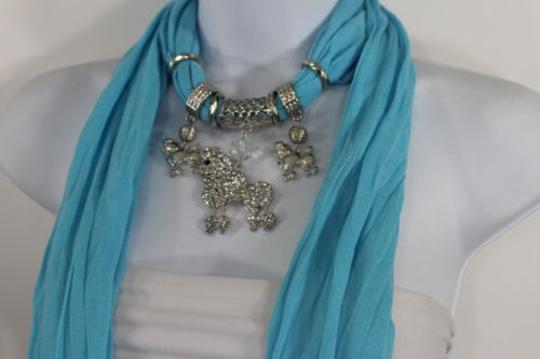 Alwaystyle4you Women Blue Long Scarf Fabric Silver Metal Dog Poodle Pendant Image 9