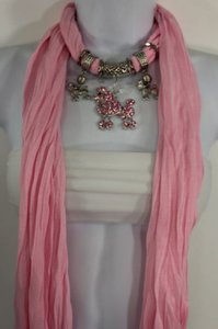 Alwaystyle4you Women Light Pink Scarf Fabric Dog Poodle Pendant Necklace