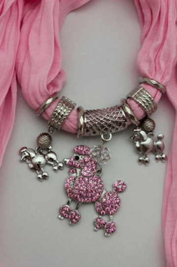 Alwaystyle4you Women Light Pink Scarf Fabric Dog Poodle Pendant Necklace Image 1