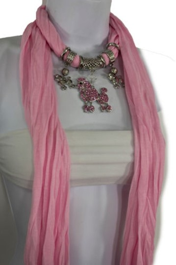 Alwaystyle4you Women Light Pink Scarf Fabric Dog Poodle Pendant Necklace Image 10