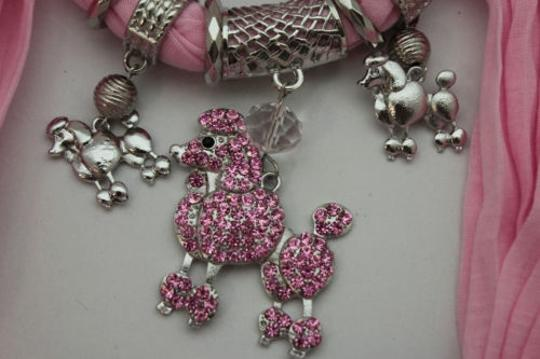 Alwaystyle4you Women Light Pink Scarf Fabric Dog Poodle Pendant Necklace Image 11