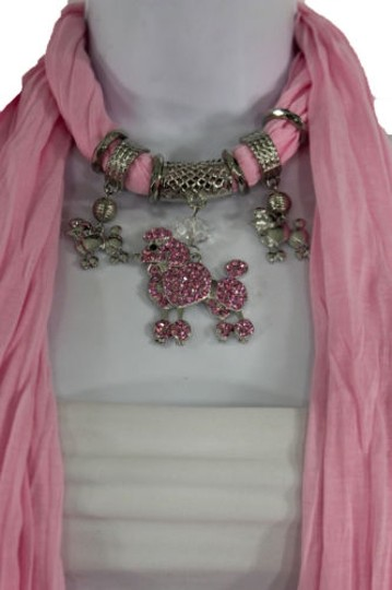 Alwaystyle4you Women Light Pink Scarf Fabric Dog Poodle Pendant Necklace Image 2